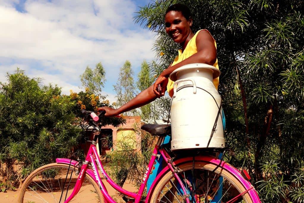 Vrouw met fiets Heifer