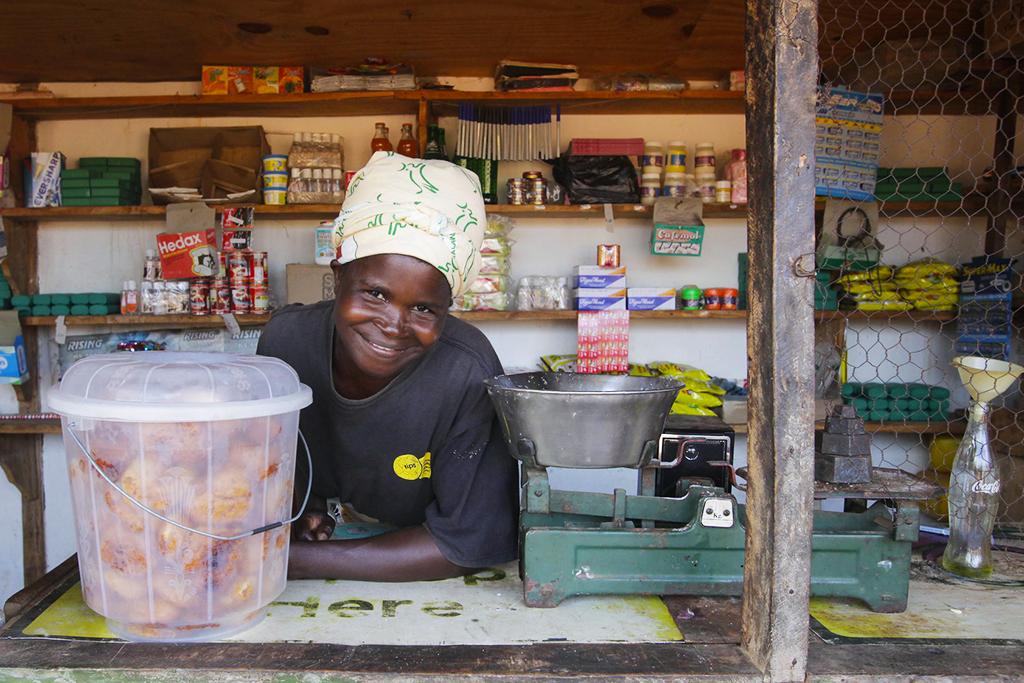 Lucia in shop Malawi